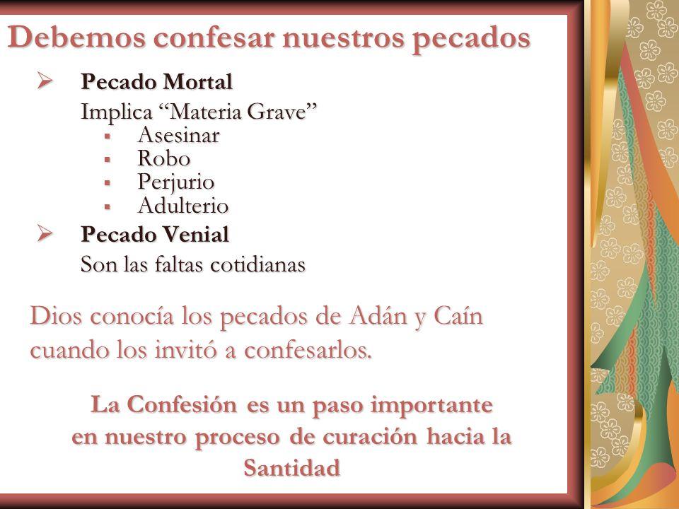 Debemos confesar nuestros pecados Pecado Mortal Pecado Mortal Implica Materia Grave Asesinar Asesinar Robo Robo Perjurio Perjurio Adulterio Adulterio
