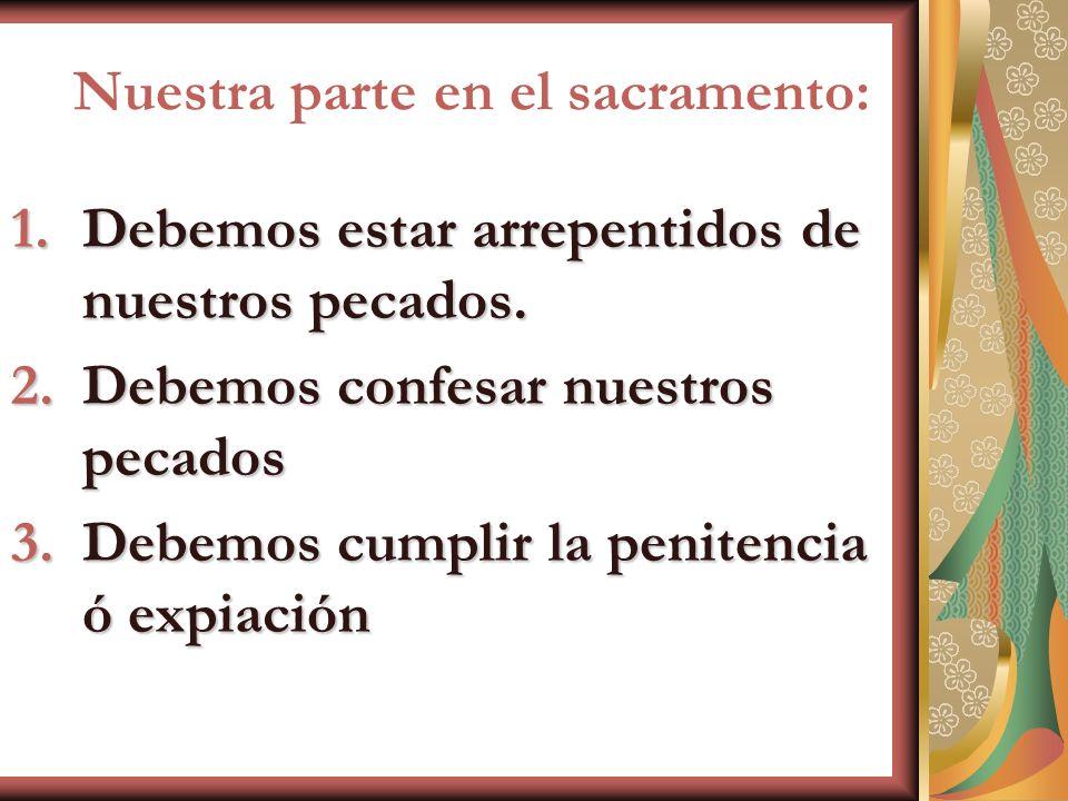 Nuestra parte en el sacramento: 1.Debemos estar arrepentidos de nuestros pecados. 2.Debemos confesar nuestros pecados 3.Debemos cumplir la penitencia