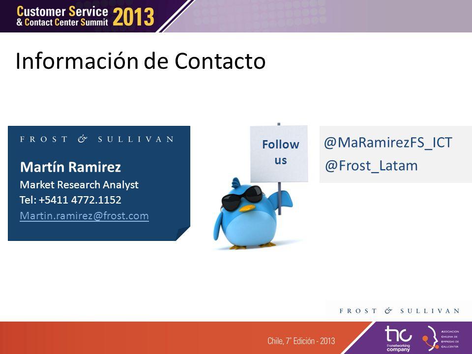 Martín Ramirez Market Research Analyst Tel: +5411 4772.1152 Martin.ramirez@frost.com Follow us @Frost_Latam @MaRamirezFS_ICT