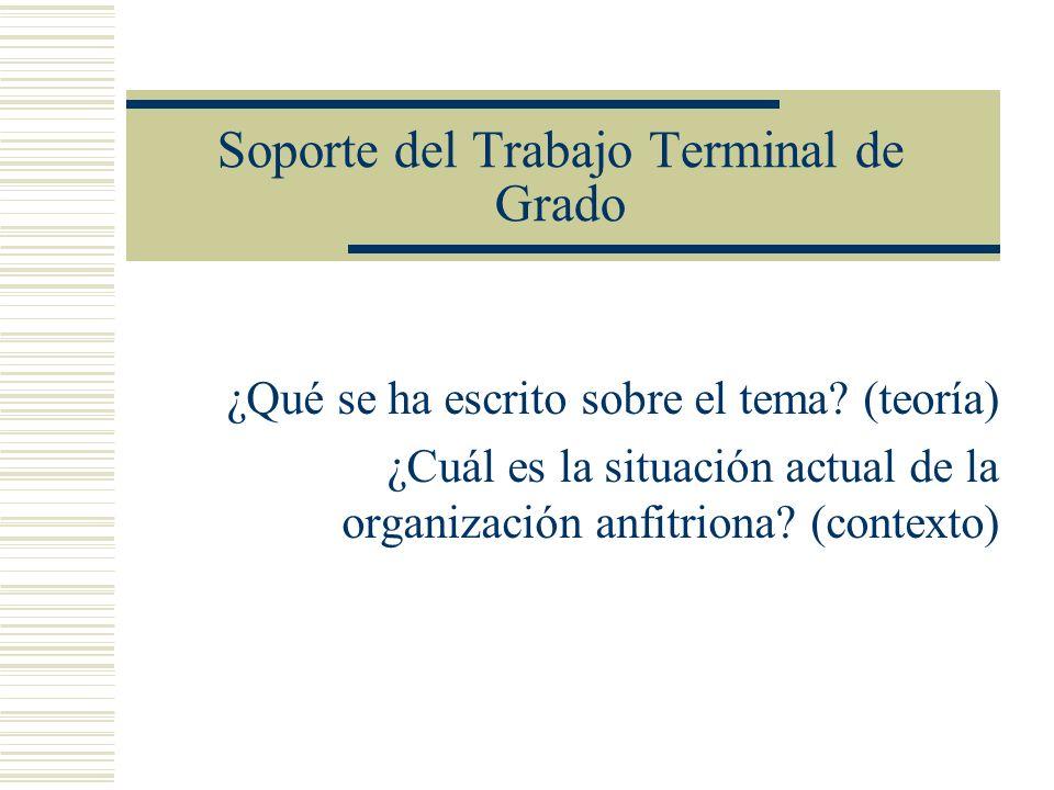 Soporte del Trabajo Terminal de Grado ¿Qué se ha escrito sobre el tema? (teoría) ¿Cuál es la situación actual de la organización anfitriona? (contexto