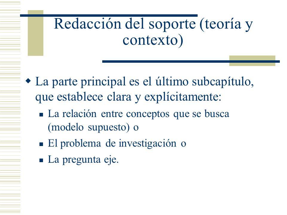 Redacción del soporte (teoría y contexto) La parte principal es el último subcapítulo, que establece clara y explícitamente: La relación entre concept