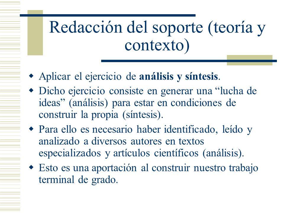 Redacción del soporte (teoría y contexto) Aplicar el ejercicio de análisis y síntesis. Dicho ejercicio consiste en generar una lucha de ideas (análisi