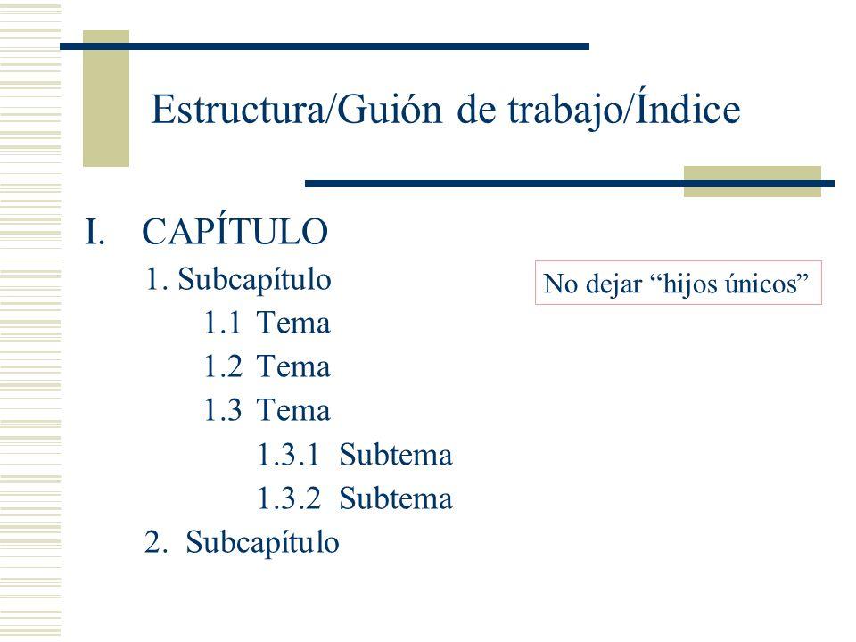 Estructura/Guión de trabajo/Índice I.CAPÍTULO 1.Subcapítulo 1.1Tema 1.2Tema 1.3Tema 1.3.1 Subtema 1.3.2 Subtema 2. Subcapítulo No dejar hijos únicos