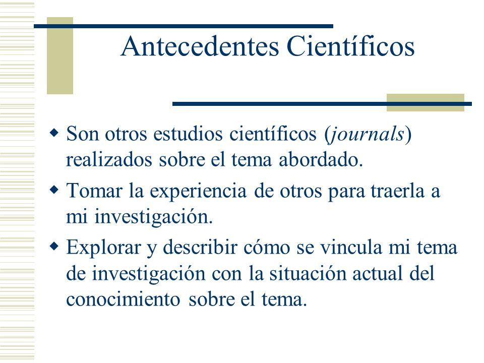 Antecedentes Científicos Son otros estudios científicos (journals) realizados sobre el tema abordado. Tomar la experiencia de otros para traerla a mi