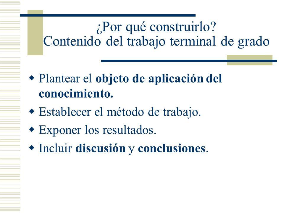 ¿Por qué construirlo? Contenido del trabajo terminal de grado Plantear el objeto de aplicación del conocimiento. Establecer el método de trabajo. Expo