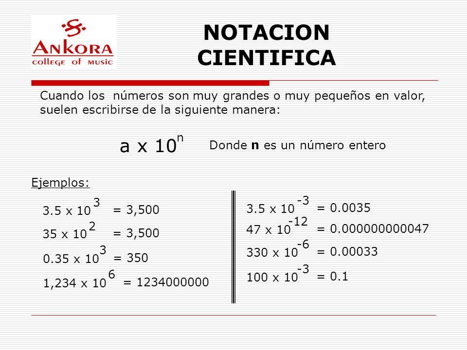 NOTACION CIENTIFICA Cuando los números son muy grandes o muy pequeños en valor, suelen escribirse de la siguiente manera: a x 10 n Donde n es un númer