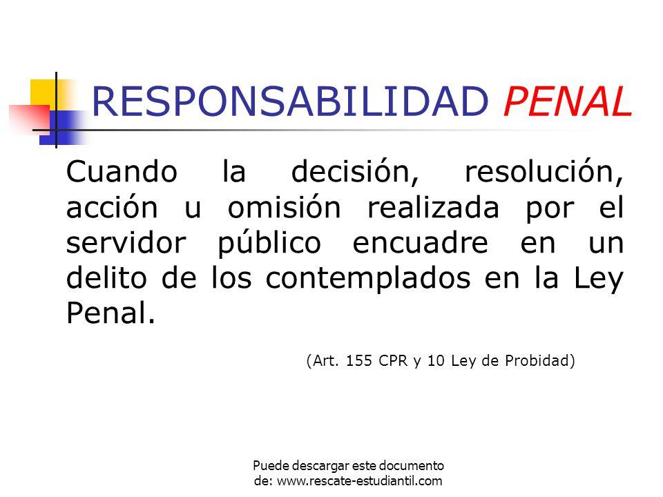 RESPONSABILIDAD PENAL Cuando la decisión, resolución, acción u omisión realizada por el servidor público encuadre en un delito de los contemplados en