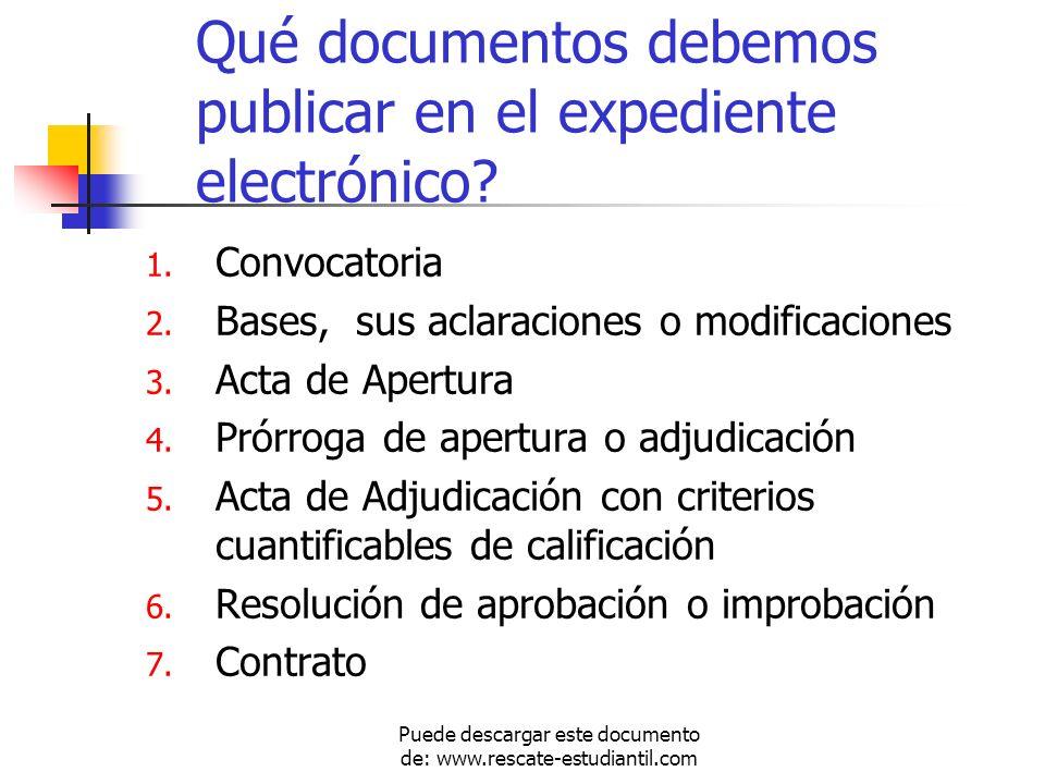 Qué documentos debemos publicar en el expediente electrónico? 1. Convocatoria 2. Bases, sus aclaraciones o modificaciones 3. Acta de Apertura 4. Prórr