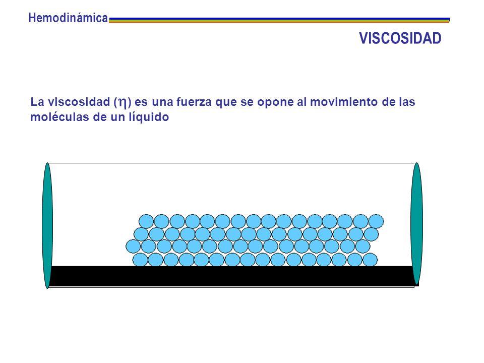 La viscosidad ( ) es una fuerza que se opone al movimiento de las moléculas de un líquido Hemodinámica VISCOSIDAD
