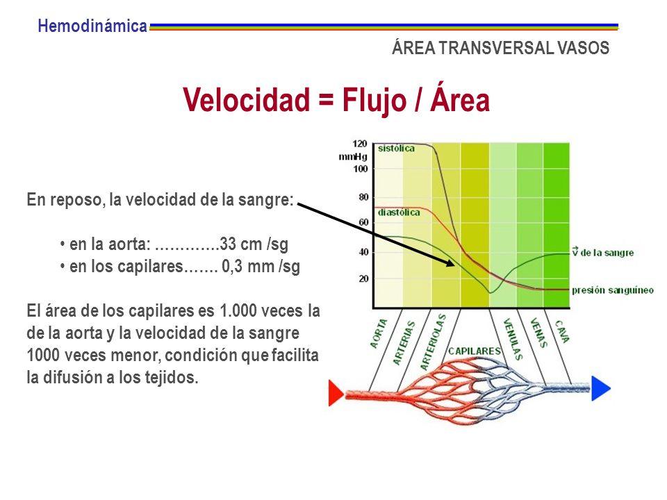 Velocidad = Flujo / Área Hemodinámica ÁREA TRANSVERSAL VASOS En reposo, la velocidad de la sangre: en la aorta: ………….33 cm /sg en los capilares……. 0,3