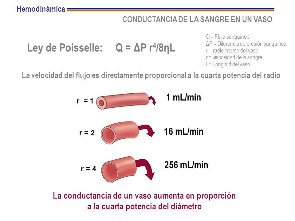 CONDUCTANCIA DE LA SANGRE EN UN VASO Ley de Poisselle:Q = ΔP r 4 /8ηL La conductancia de un vaso aumenta en proporción a la cuarta potencia del diámet