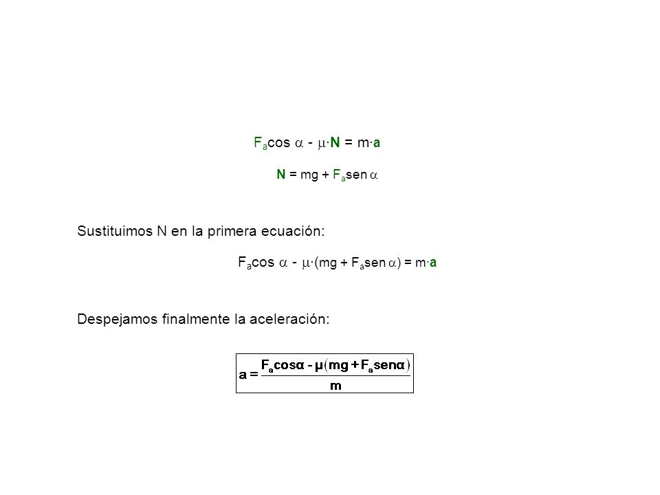 Sustituimos N en la primera ecuación: Despejamos finalmente la aceleración: F a cos - ·N = m· a N = mg + F a sen F a cos - ·( mg + F a sen ) = m·a