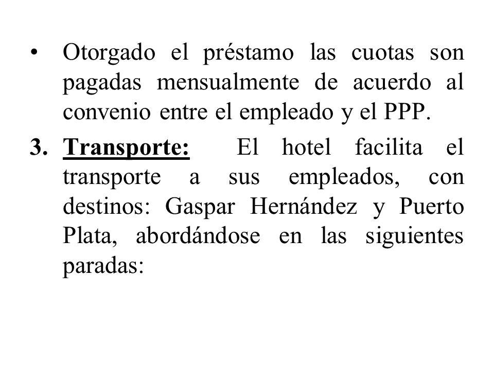 Otorgado el préstamo las cuotas son pagadas mensualmente de acuerdo al convenio entre el empleado y el PPP. 3.Transporte: El hotel facilita el transpo