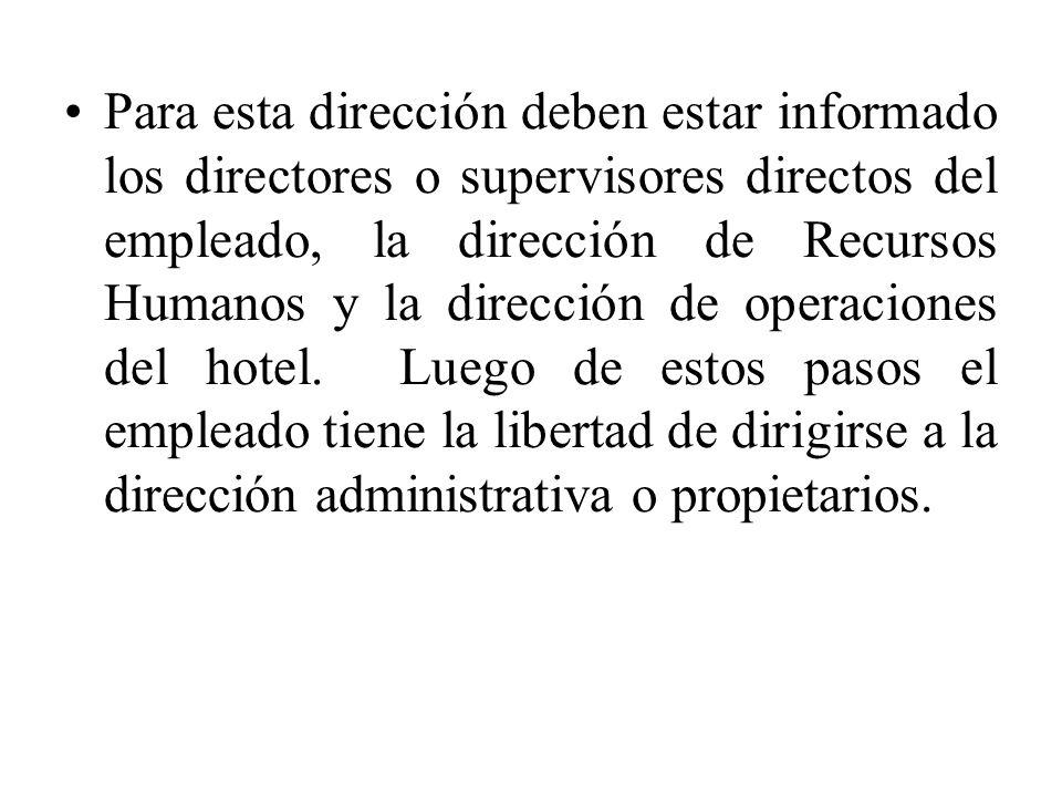 Para esta dirección deben estar informado los directores o supervisores directos del empleado, la dirección de Recursos Humanos y la dirección de oper
