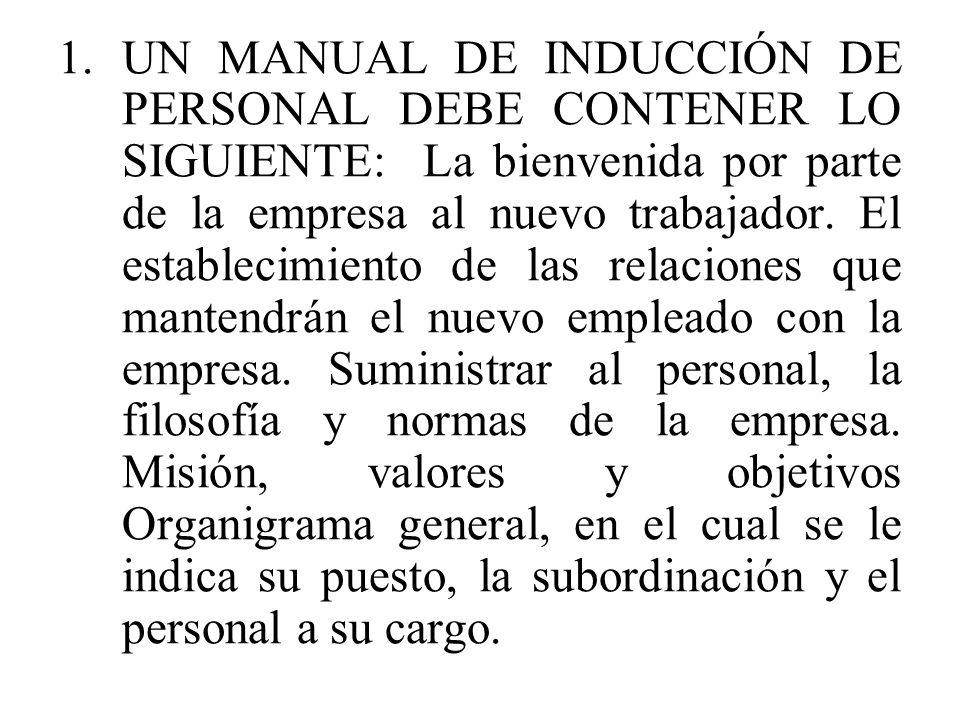 1.UN MANUAL DE INDUCCIÓN DE PERSONAL DEBE CONTENER LO SIGUIENTE: La bienvenida por parte de la empresa al nuevo trabajador. El establecimiento de las