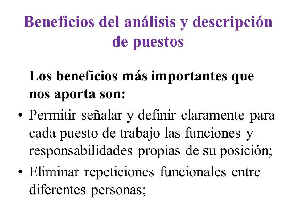 Beneficios del análisis y descripción de puestos Los beneficios más importantes que nos aporta son: Permitir señalar y definir claramente para cada pu