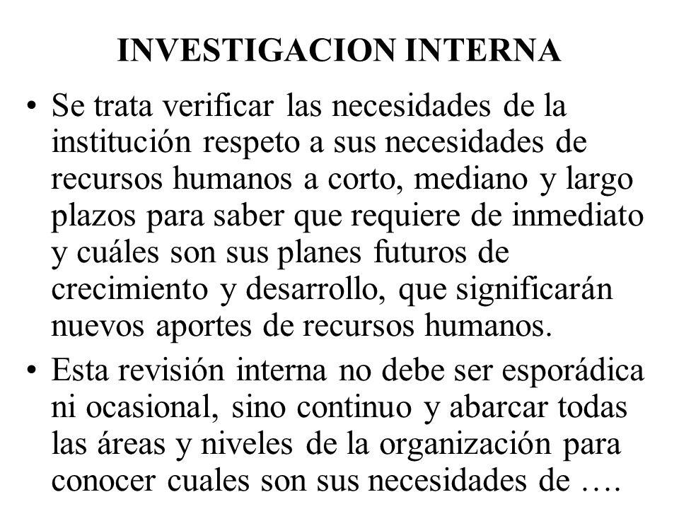 INVESTIGACION INTERNA Se trata verificar las necesidades de la institución respeto a sus necesidades de recursos humanos a corto, mediano y largo plaz