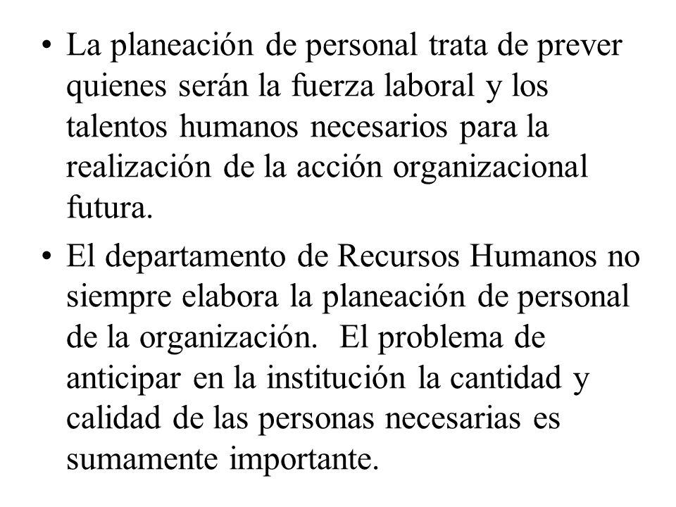 La planeación de personal trata de prever quienes serán la fuerza laboral y los talentos humanos necesarios para la realización de la acción organizac