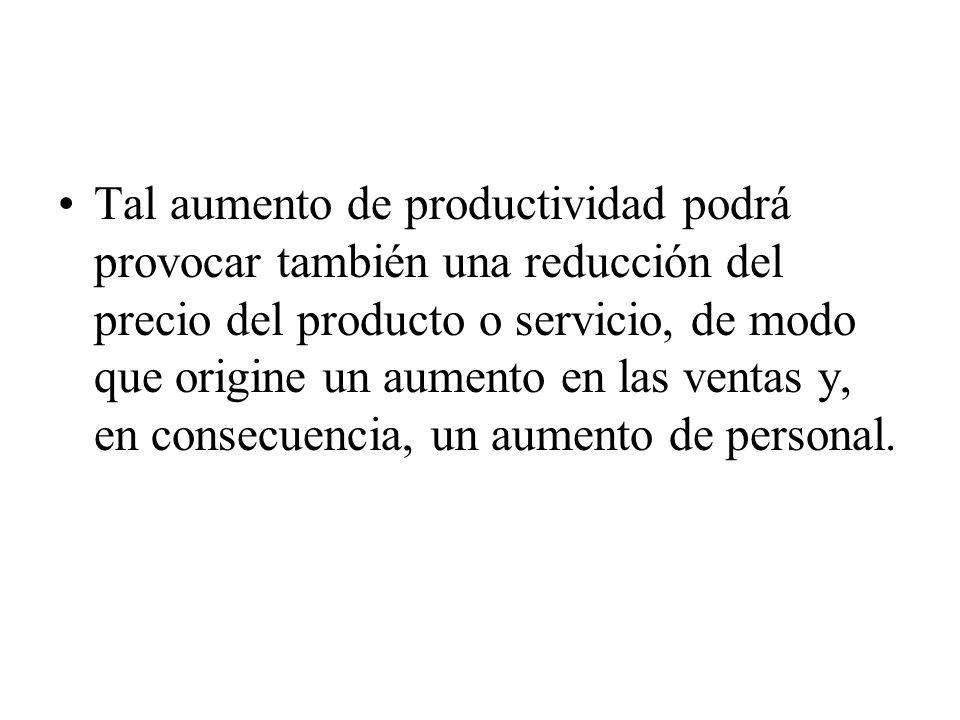 Tal aumento de productividad podrá provocar también una reducción del precio del producto o servicio, de modo que origine un aumento en las ventas y,