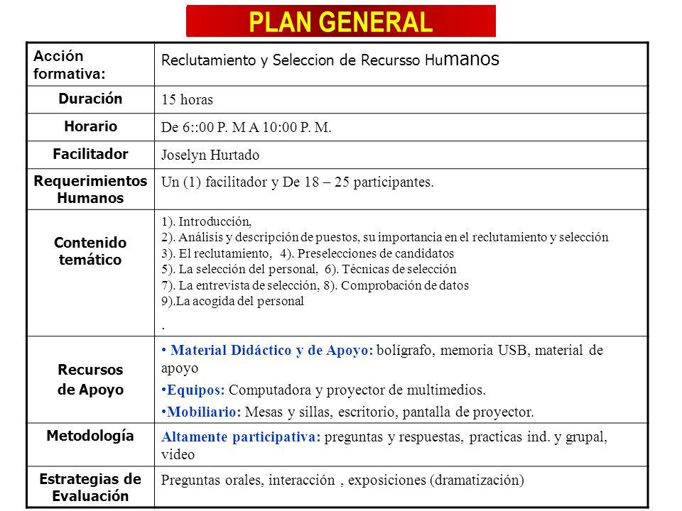 PLAN GENERAL Acción formativa: Reclutamiento y Seleccion de Recursso Hu manos Duración 15 horas Horario De 6::00 P. M A 10:00 P. M. Facilitador Josely