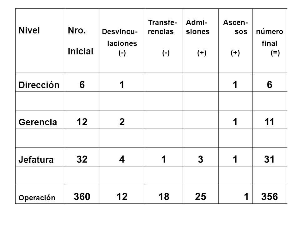 NivelNro. Desvincu- Transfe- rencias Admi- siones Ascen- sosnúmero Inicial laciones (-) (+) final (=) Dirección 61 16 Gerencia 122 111 Jefatura 324131
