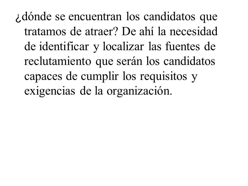 ¿ dónde se encuentran los candidatos que tratamos de atraer? De ahí la necesidad de identificar y localizar las fuentes de reclutamiento que serán los