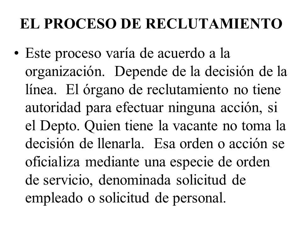 EL PROCESO DE RECLUTAMIENTO Este proceso varía de acuerdo a la organización. Depende de la decisión de la línea. El órgano de reclutamiento no tiene a