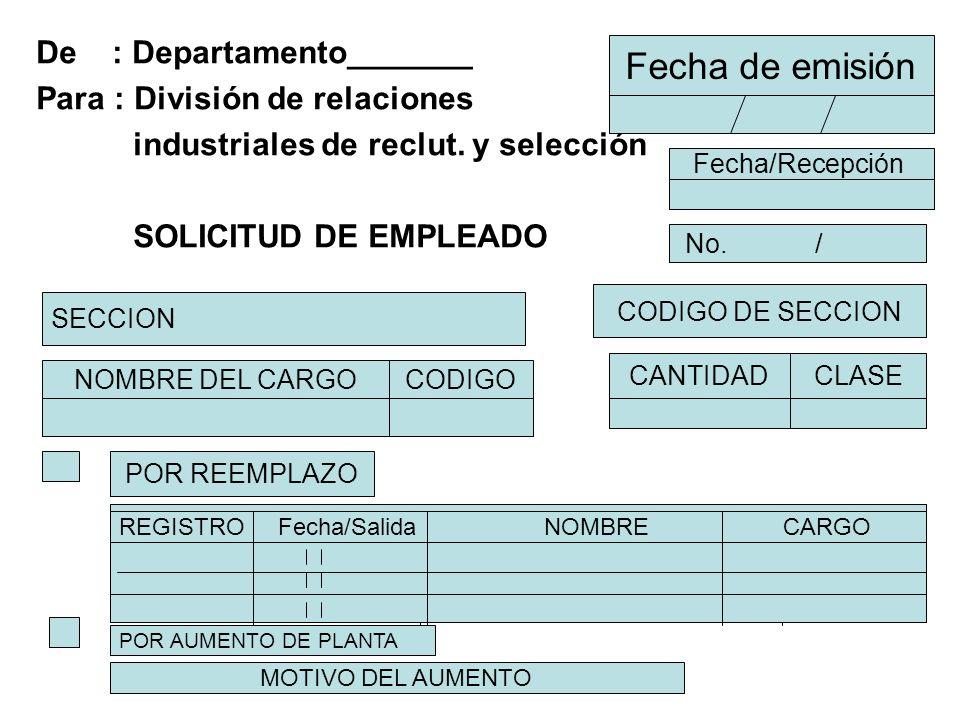 De : Departamento_______ Para : División de relaciones industriales de reclut. y selección SOLICITUD DE EMPLEADO Fecha de emisión Fecha/Recepción No.