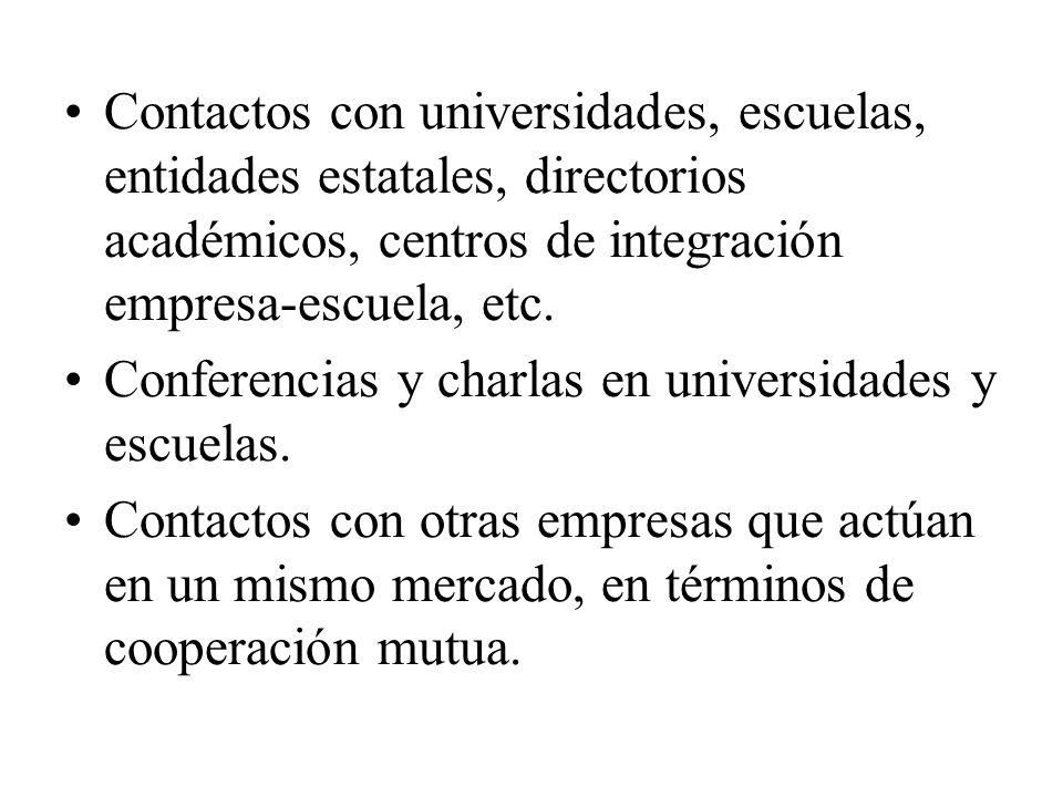 Contactos con universidades, escuelas, entidades estatales, directorios académicos, centros de integración empresa-escuela, etc. Conferencias y charla