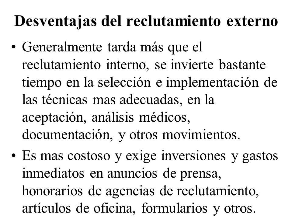 Desventajas del reclutamiento externo Generalmente tarda más que el reclutamiento interno, se invierte bastante tiempo en la selección e implementació