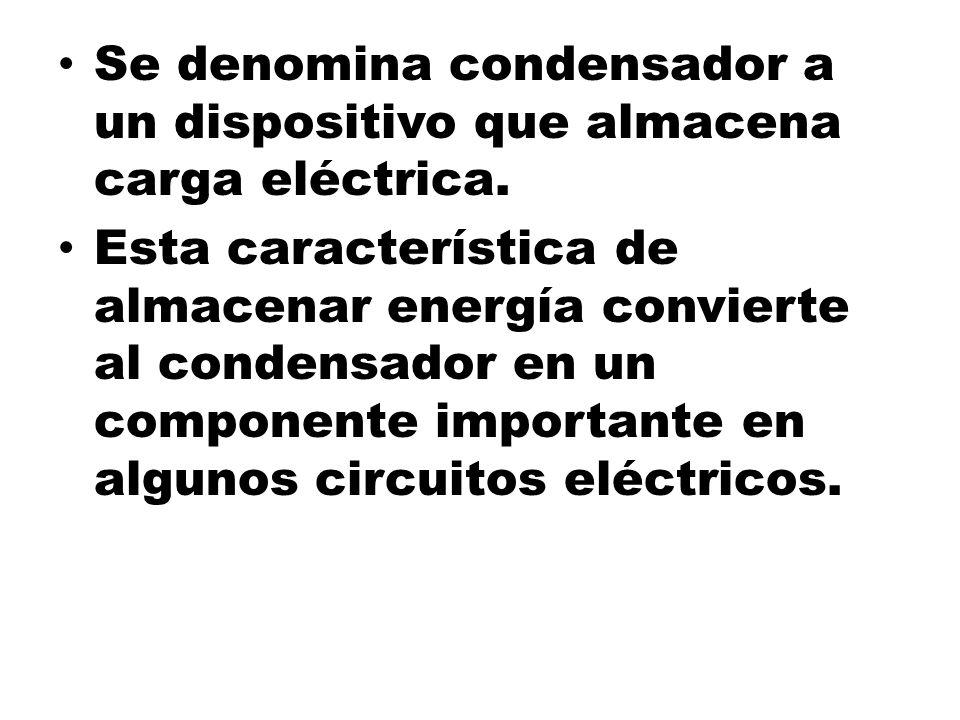 Se denomina condensador a un dispositivo que almacena carga eléctrica. Esta característica de almacenar energía convierte al condensador en un compone