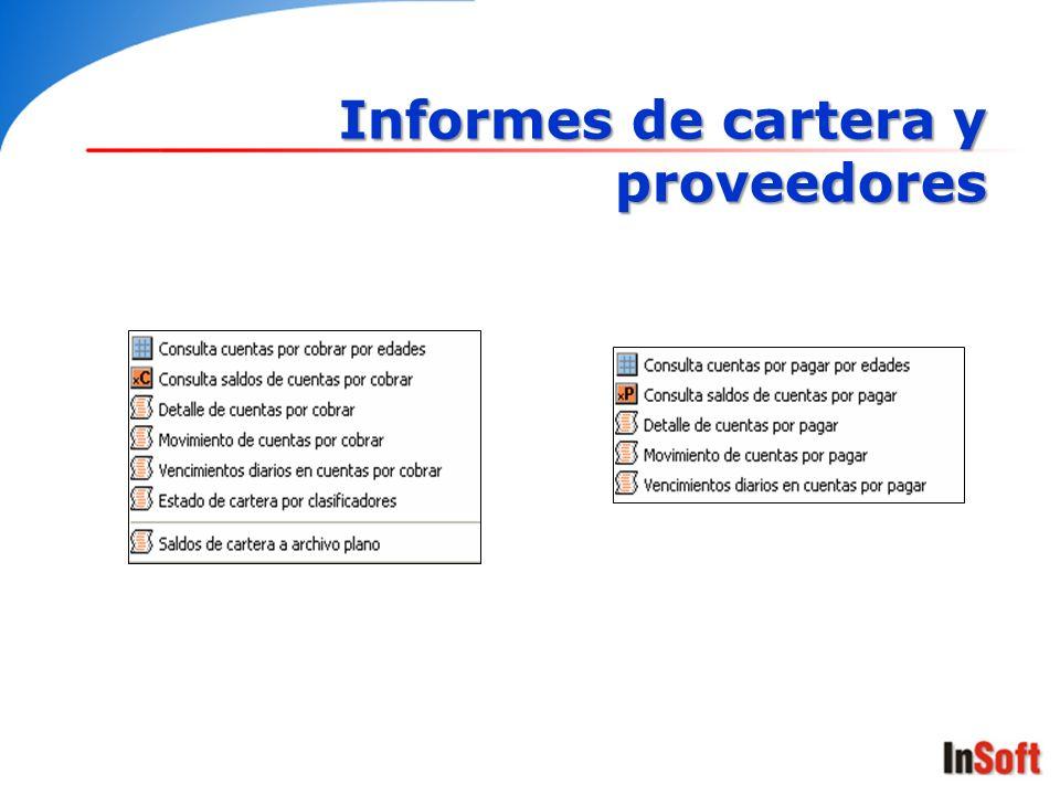 Informes de cartera y proveedores
