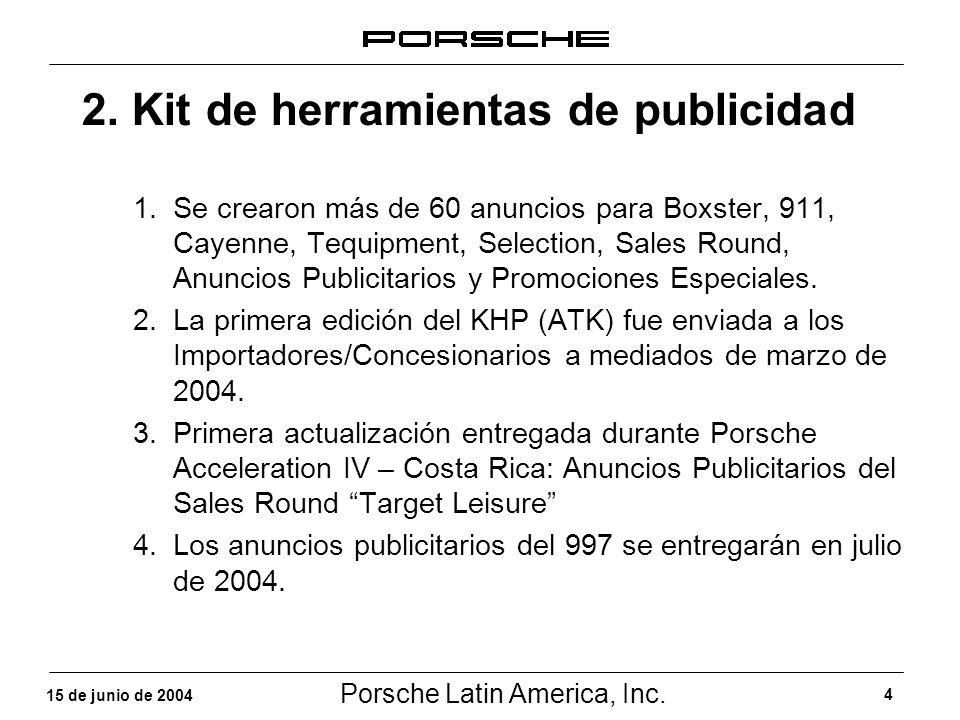 Porsche Latin America, Inc. 4 15 de junio de 2004 2. Kit de herramientas de publicidad 1.Se crearon más de 60 anuncios para Boxster, 911, Cayenne, Teq