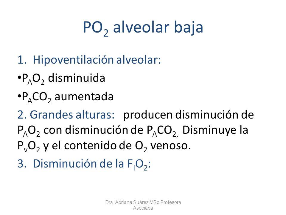 PO 2 alveolar baja 1. Hipoventilación alveolar: P A O 2 disminuida P A CO 2 aumentada 2. Grandes alturas: producen disminución de P A O 2 con disminuc