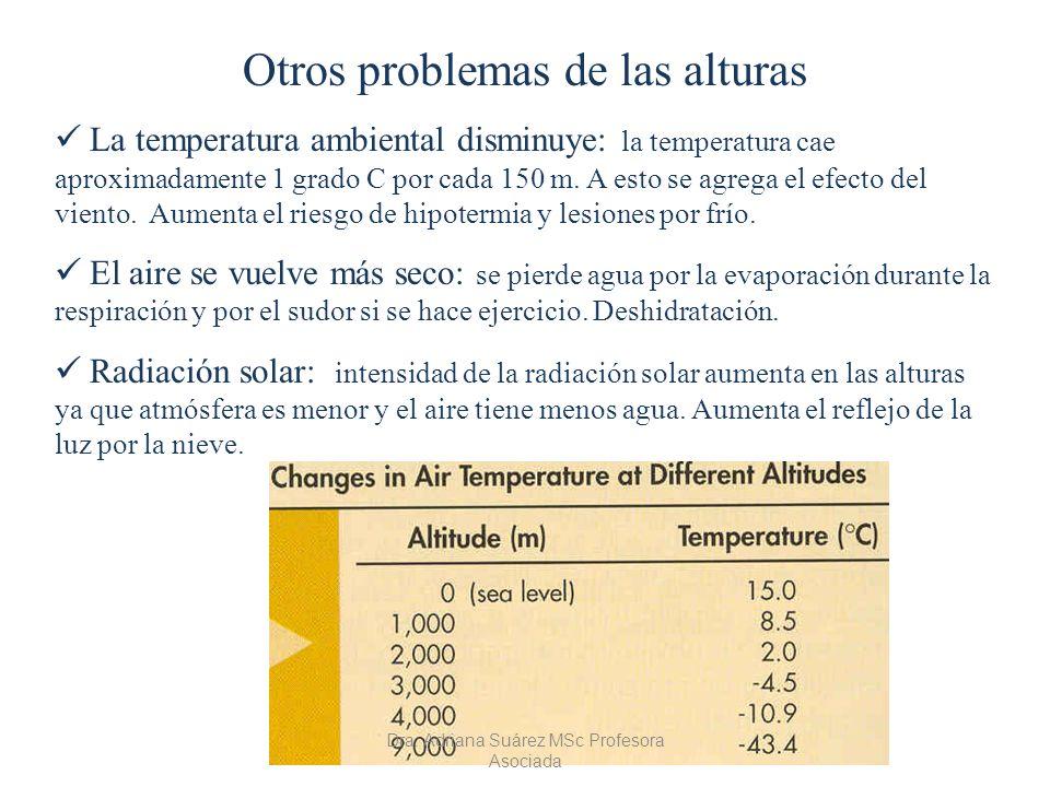 Otros problemas de las alturas La temperatura ambiental disminuye: la temperatura cae aproximadamente 1 grado C por cada 150 m. A esto se agrega el ef