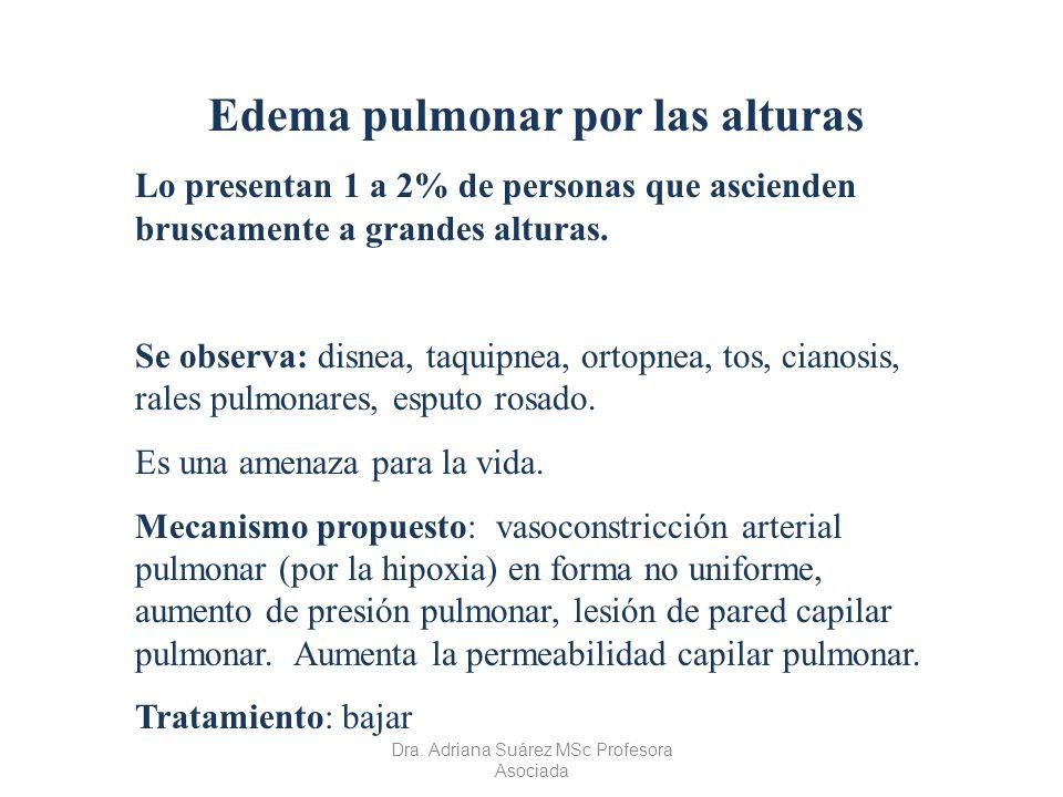Edema pulmonar por las alturas Lo presentan 1 a 2% de personas que ascienden bruscamente a grandes alturas. Se observa: disnea, taquipnea, ortopnea, t