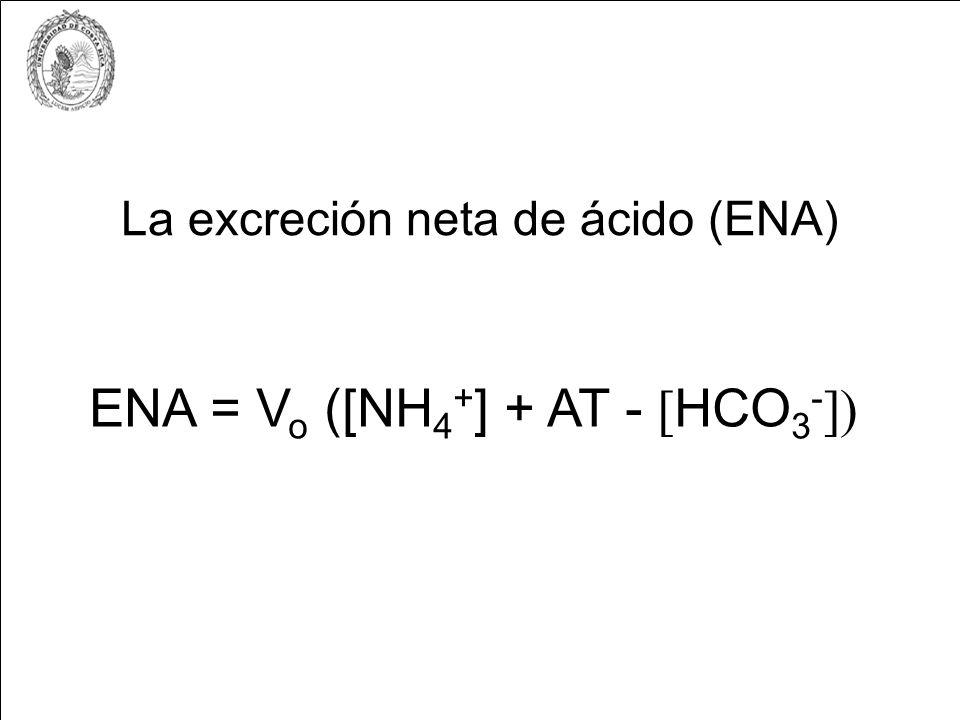 La excreción neta de ácido (ENA) ENA = V o ([NH 4 + ] + AT - [ HCO 3 - ])
