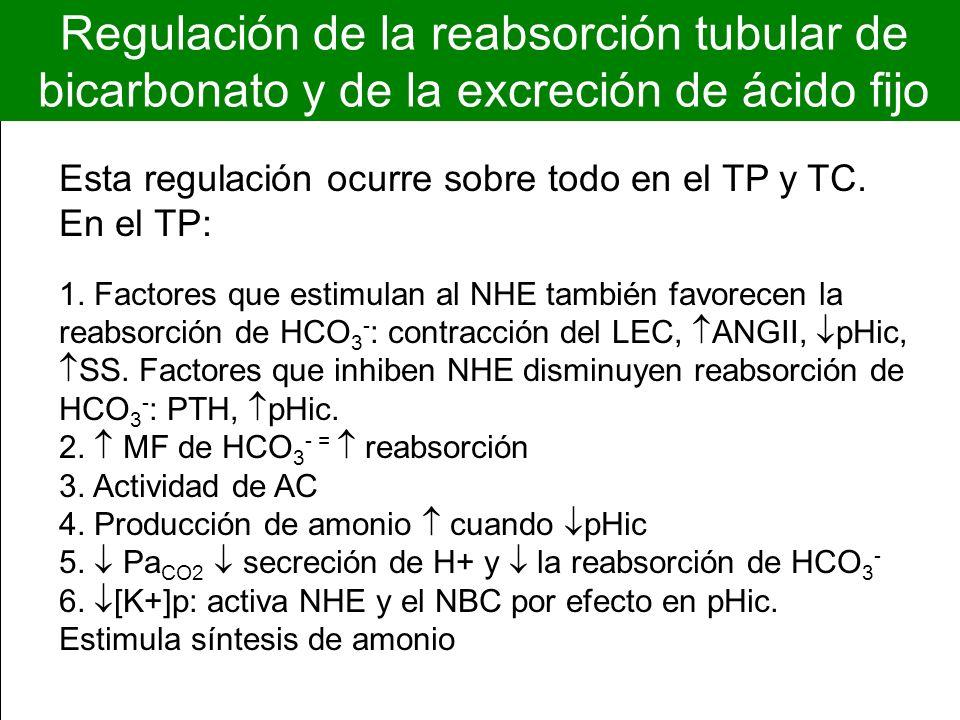Regulación de la reabsorción tubular de bicarbonato y de la excreción de ácido fijo Esta regulación ocurre sobre todo en el TP y TC. En el TP: 1. Fact