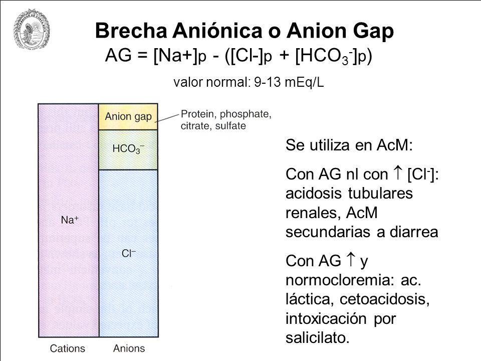 Brecha Aniónica o Anion Gap AG = [Na+] p - ([Cl-] p + [HCO 3 - ] p ) valor normal: 9-13 mEq/L Se utiliza en AcM: Con AG nl con [Cl - ]: acidosis tubul