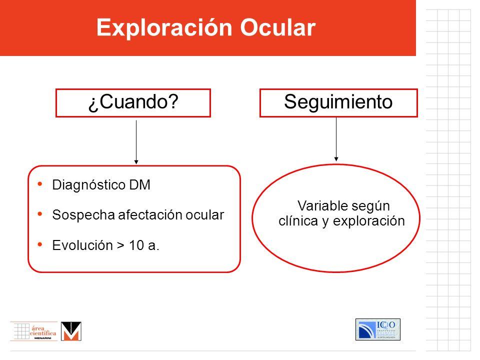 Examen clínico ocular Función visual Biomicroscopía Oftalmoscopía Angiografía fluoresceínica.