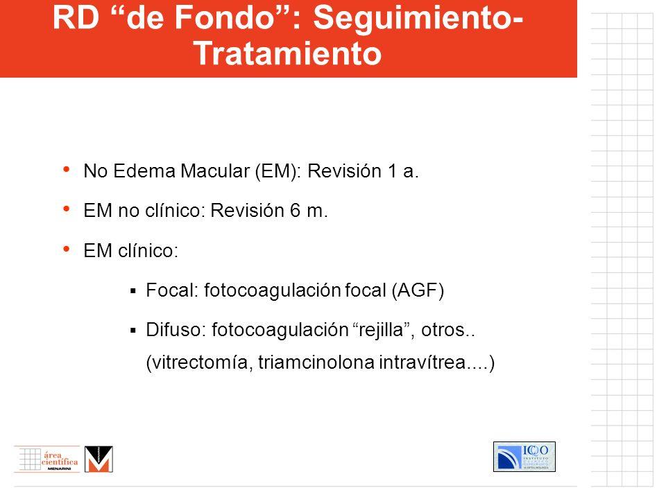 RD proliferativa (NVD-NVE): Fotocoagulación Panretiniana RD proliferativa (hemorragia prerretiniana-vítrea) Vitrectomía, endolaser, RD proliferativa (Desprendimiento Traccional Retina): Vitrectomía, resección membranas reaplicación retina, endolaser.