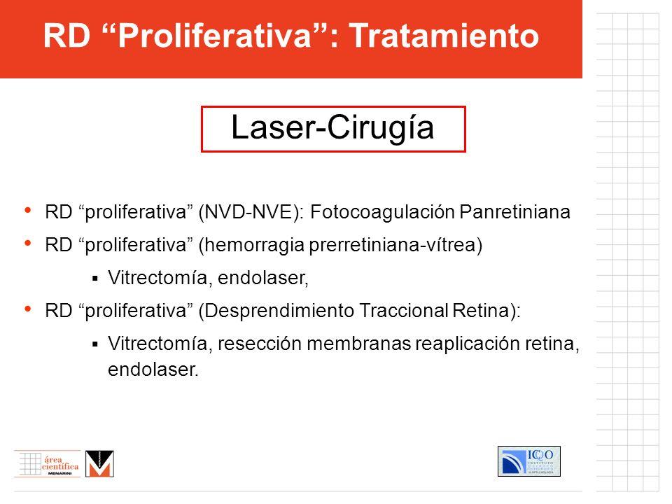 RD proliferativa (NVD-NVE): Fotocoagulación Panretiniana RD proliferativa (hemorragia prerretiniana-vítrea) Vitrectomía, endolaser, RD proliferativa (