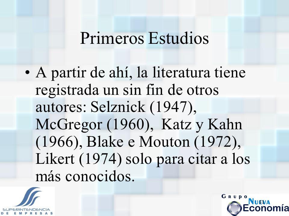 11 Primeros Estudios A partir de ahí, la literatura tiene registrada un sin fin de otros autores: Selznick (1947), McGregor (1960), Katz y Kahn (1966)