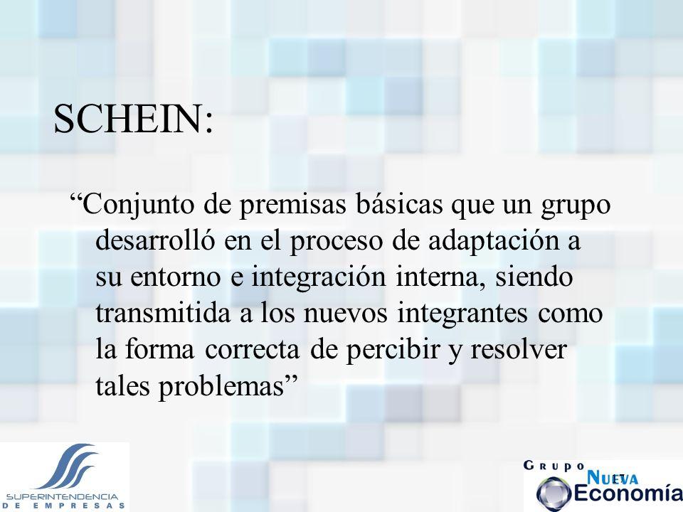 17 SCHEIN: Conjunto de premisas básicas que un grupo desarrolló en el proceso de adaptación a su entorno e integración interna, siendo transmitida a l