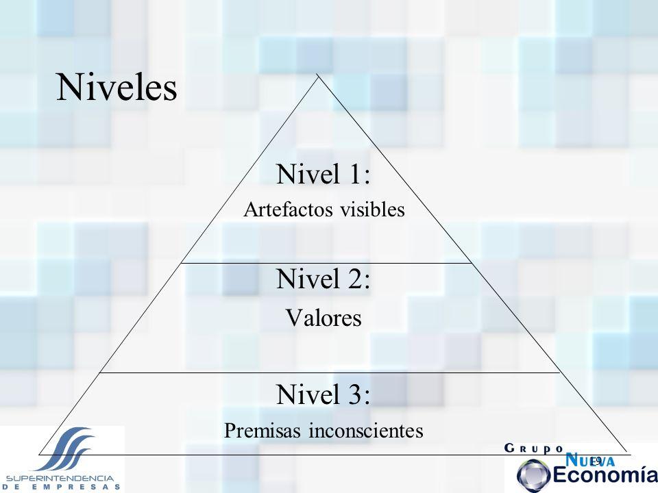 19 Niveles Nivel 1: Artefactos visibles Nivel 2: Valores Nivel 3: Premisas inconscientes