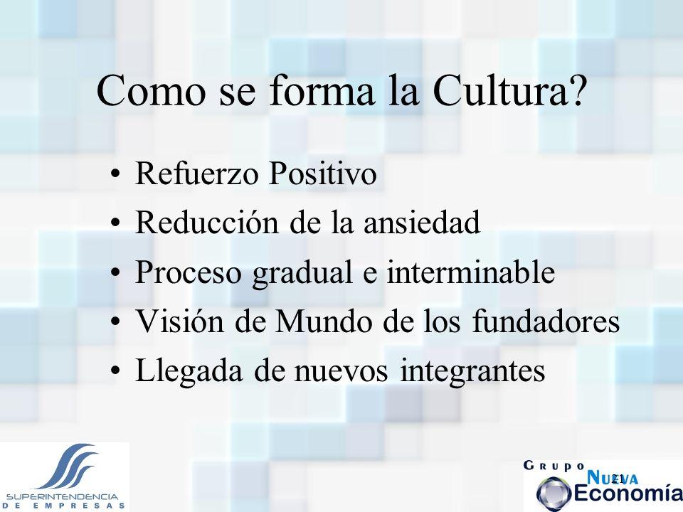 21 Como se forma la Cultura? Refuerzo Positivo Reducción de la ansiedad Proceso gradual e interminable Visión de Mundo de los fundadores Llegada de nu