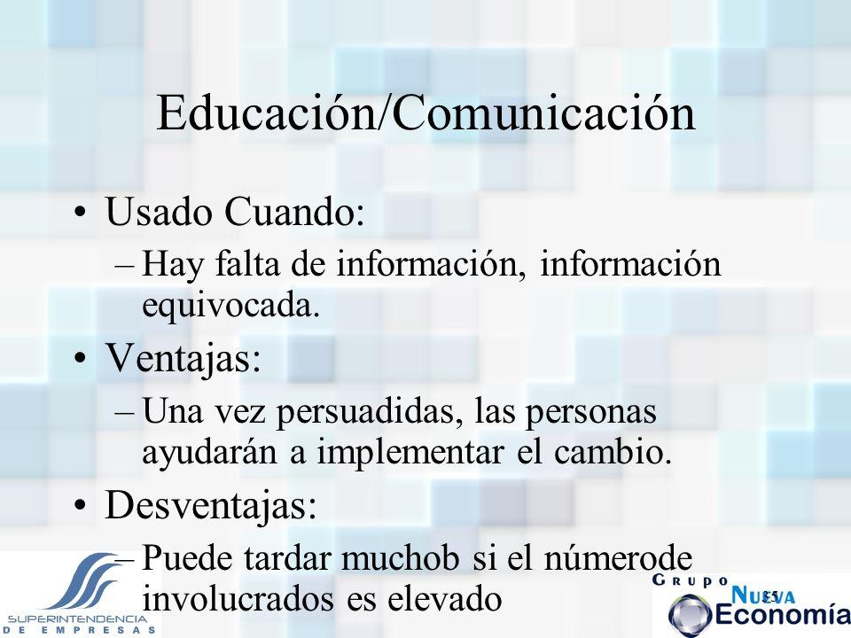 35 Educación/Comunicación Usado Cuando: –Hay falta de información, información equivocada. Ventajas: –Una vez persuadidas, las personas ayudarán a imp