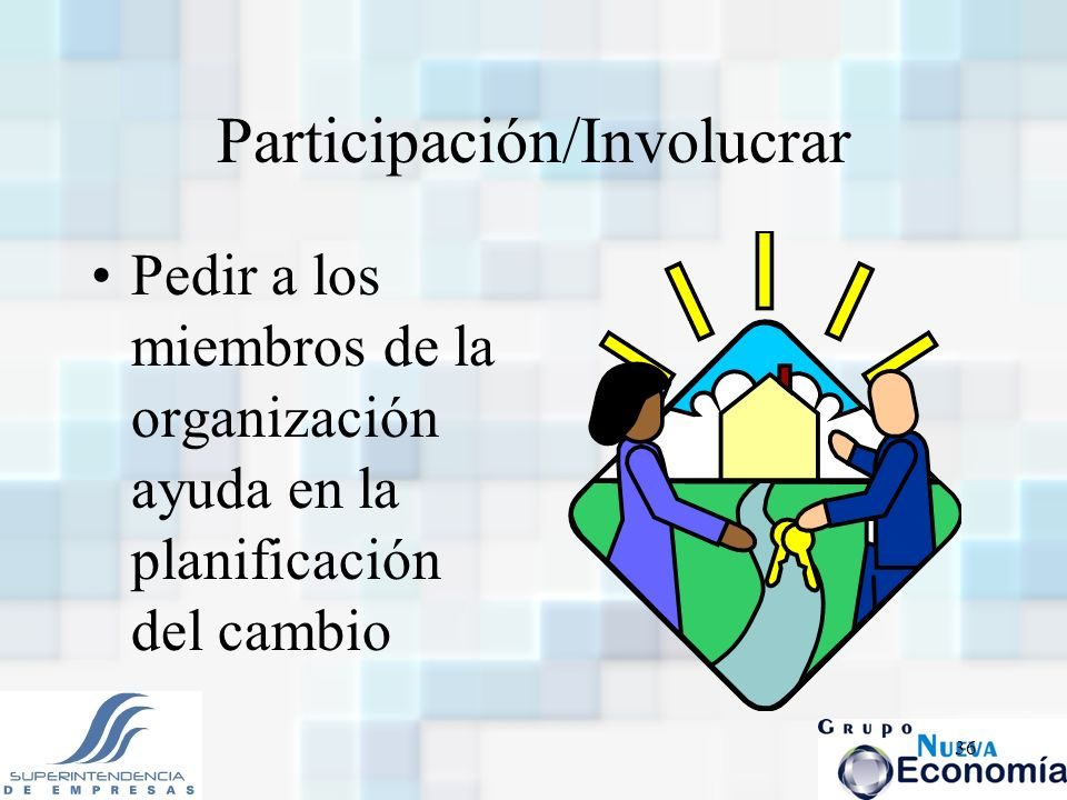 36 Participación/Involucrar Pedir a los miembros de la organización ayuda en la planificación del cambio