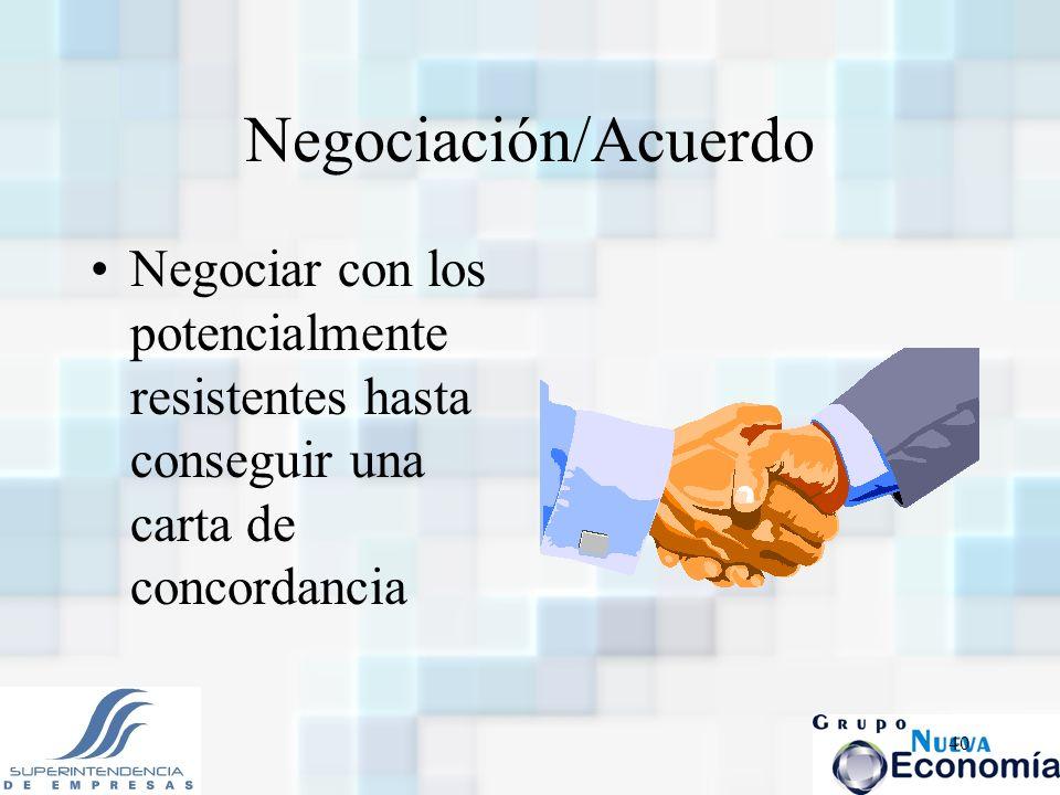 40 Negociación/Acuerdo Negociar con los potencialmente resistentes hasta conseguir una carta de concordancia