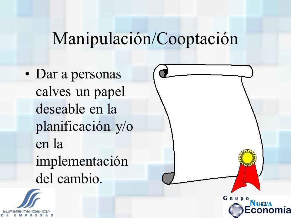 42 Manipulación/Cooptación Dar a personas calves un papel deseable en la planificación y/o en la implementación del cambio.